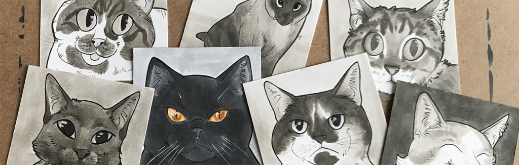 Several small cartoon drawings of cats that resulted from the Random Acts of Cat project